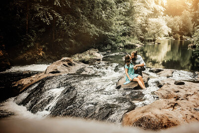 Outdoor Hiking Couple, Kiss in River at Banning Mills, Banning Mill GA