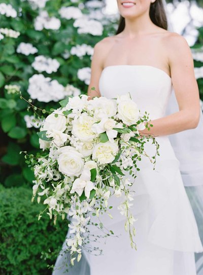 Trailing white bridal bouquet