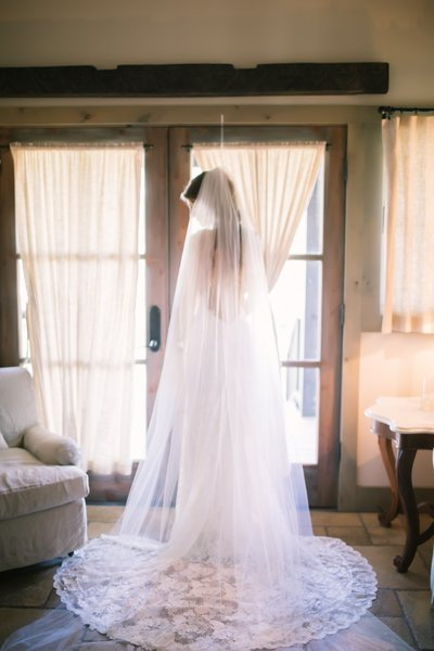 Bride in Gown and Veil at Camp Lucy