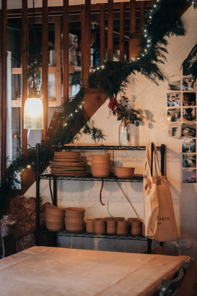 White Hearth Pottery Studio at Christmas time