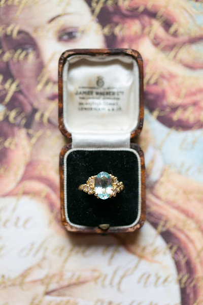 Vintage wedding ring on a wedding invitation