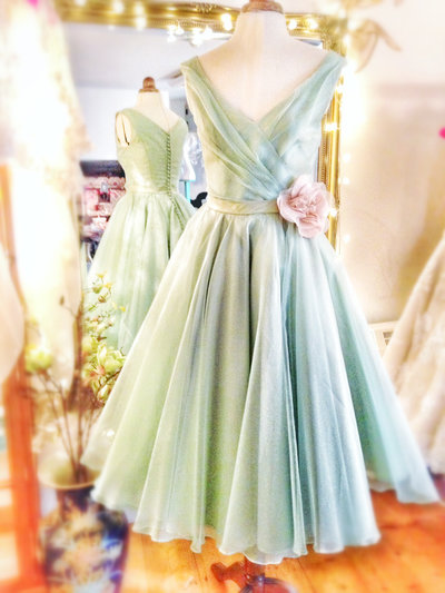 Samantha_mint_silk_tealength_wedding_dress_JoanneFlemingDesign