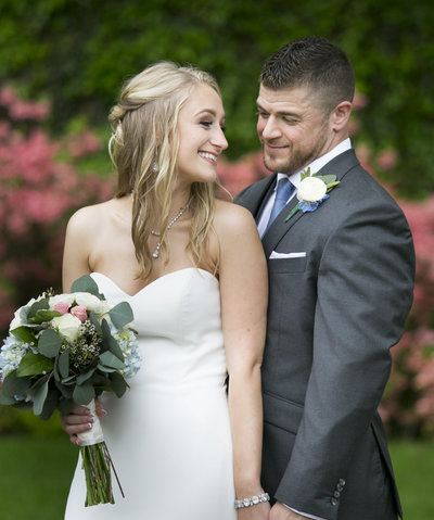 Bride and Groom smiling  at Brantwyn Estate Wedding