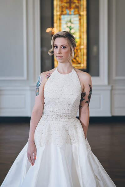 Photo link to more details about the full bishop sleeve Milly wedding dress