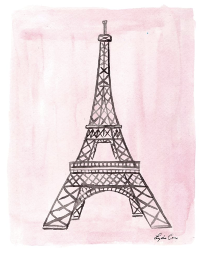 pink and black eiffel tower watercolor painting