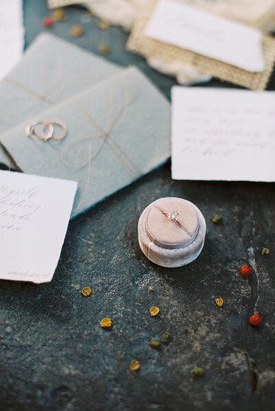Ethical and sustainable engagement ring in a round pink velvet ring box