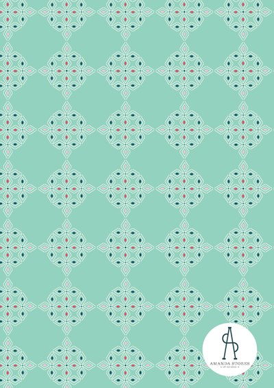 Amanda Stores- Fabric Designer of Peachtree Corners, GA- Moroccan geometric pattern with light green background