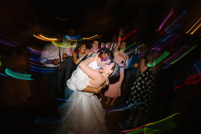 stratton mountain lodge wedding reception with glow lights for the party