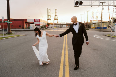 Stephanie & Duse in Downtown Seattle for their wedding at sunset