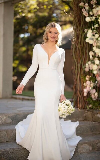 Crepe wedding dress with plunging neckline
