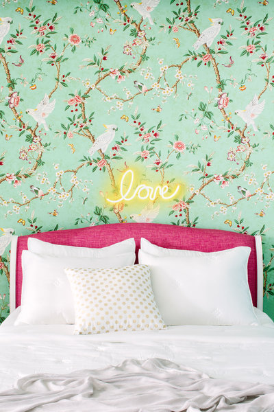 Glamorous pink and green bedroom with wallpaper | Los Angeles Interior Design