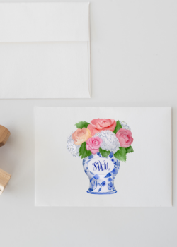 Ginger Jar and Peony Monogram Watercolor Stationery