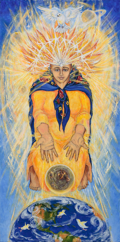oil painting of woman with Slavic scarf around shoulders, flames  and dove above her head, the eart below, and her hands outstretched to moon and doves.