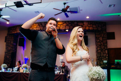 wedding DJ bride bouquet toss