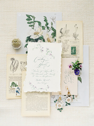 Fine art wedding flat lay with calligraphy by NYC photographer Liz Andolina Photography