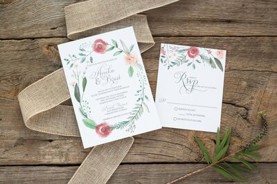 bright colorful watercolor wedding invitations