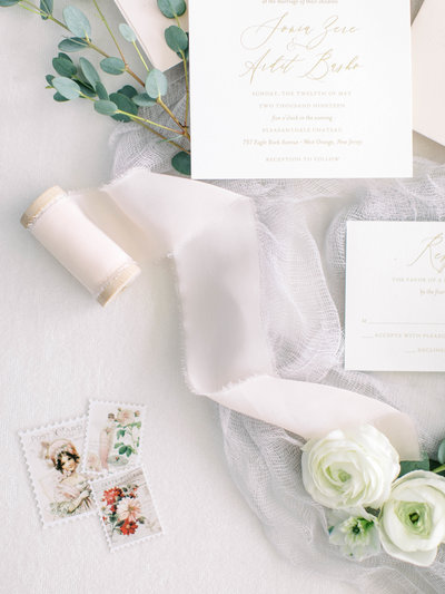 Wedding invitation suite with silk ribbon and wedding details
