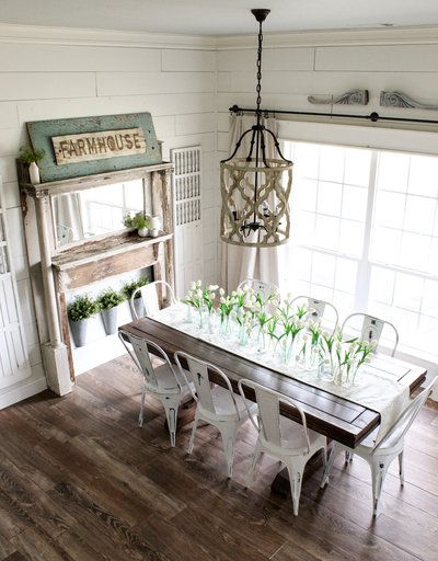 CottonStem.com farmhouse dining room table spring decor