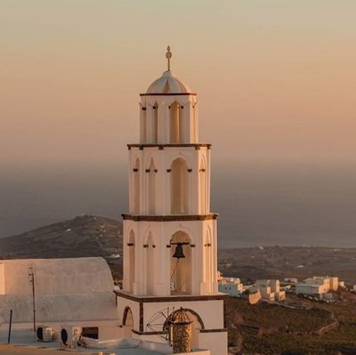 Theotokaki Church at Sunset, Pyrgos, Santorini Island, Greece. Destination Wedding Photography.