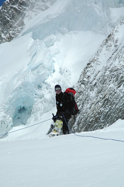 Harry Farthing in the Khumbu Icefall, Mt. Everest