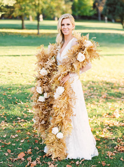 Bride in Flower Boa at  Luxury Montana Wedding