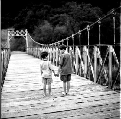 Colfax CA Film photo of 2 boys on bridge, black and white
