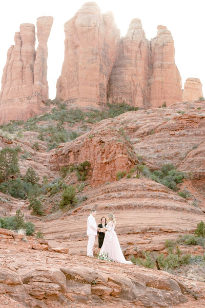 The ceremony during an elopement in Sedona Arizona