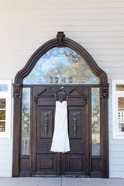 wedding dress hanging at wedgewood at lindsay grove