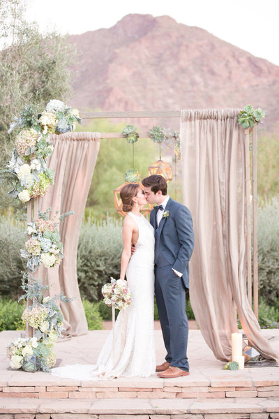Mauve El Chorro Wedding Altar Paradise Valley, Arizona | Amy & Jordan Photography