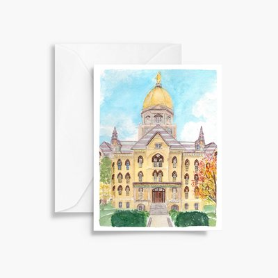 fall notre dame gold dome watercolor greeting card