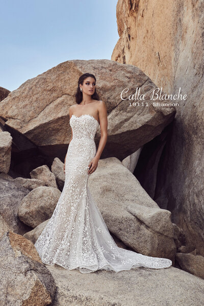 Beaded lace Fit and flare silhouette Strapless neckline Matching tulle overskirt Pocket details Cascading train