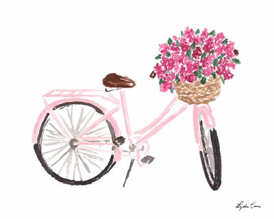 Pink Bike with Flowers Art Print watercolor The Illustrated Life