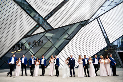Bridal party photos outside the ROM at this beautiful summer wedding