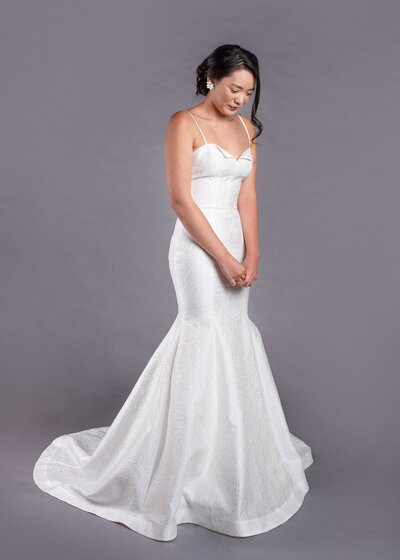 Photo link to more details about the Gladys spaghetti strap mermaid wedding dress