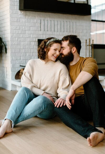 Couple in home photo shoot
