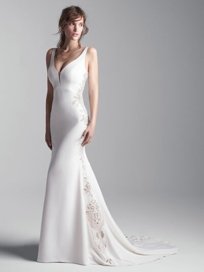 Sleeveless Vintage Wedding Gown Favorite Simple. Striking. Obviously inspired by Renaissance it-girls. A sleeveless V-back wedding gown for a sweet and sophisticated statement.
