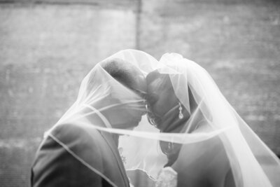 Monochromatic photo of two newlyweds under the bride's veil