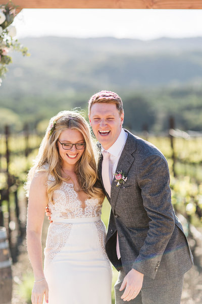winery wedding couple just married