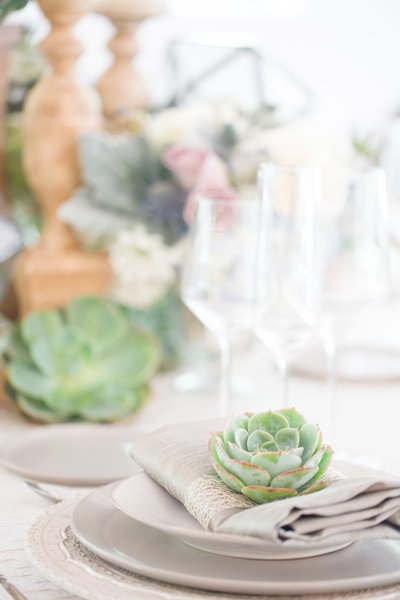 Green Succulent El Chorro Wedding Reception Details | Amy & Jordan Photography