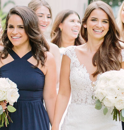 hair and makeup on bridal party
