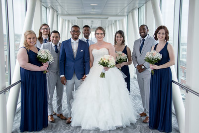 Bridal party gathered on the skybridge of the  Sheraton Erie Bayfront Hotel