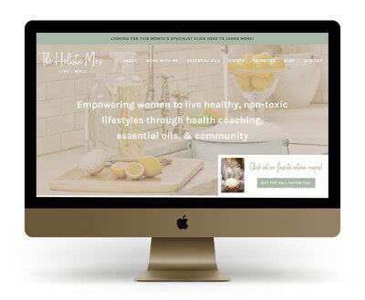 Custom Showit Website Design Mock Up for The Holistic Mrs, a health coach for women and doTerra advocate
