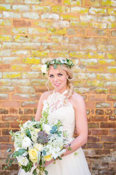 Intimate Outdoor Wedding at Barnsley Gardens Photo of Bride with Flower Crown
