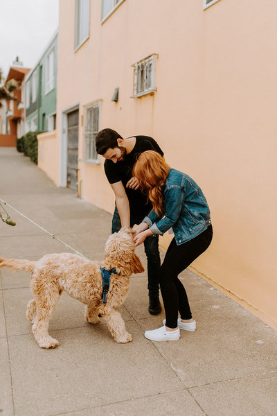 woman and man petting dog