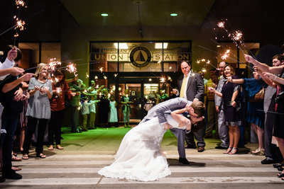 Sparkler exit from Union Station Meridian MS Wedding