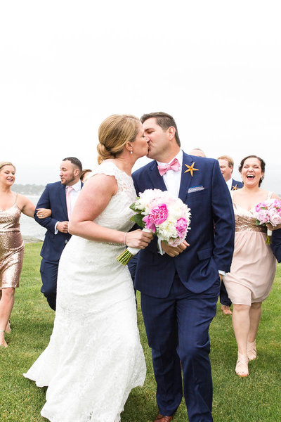 Bride & Groom share a kiss at their Newport Beach House Wedding