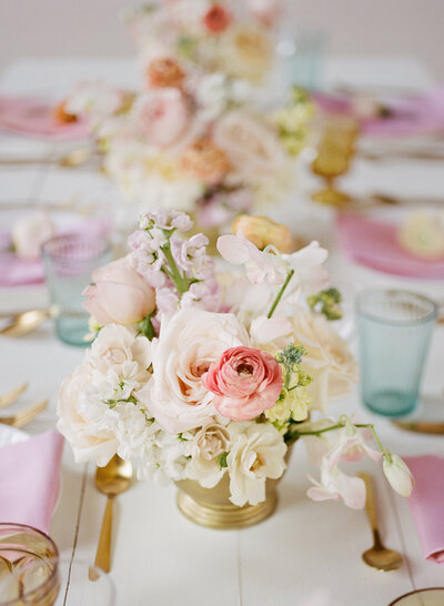 tablescape with rainbow colors