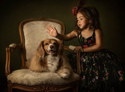 Girl-Dog-Fine Art Portrait-Floral Dress-Dallas