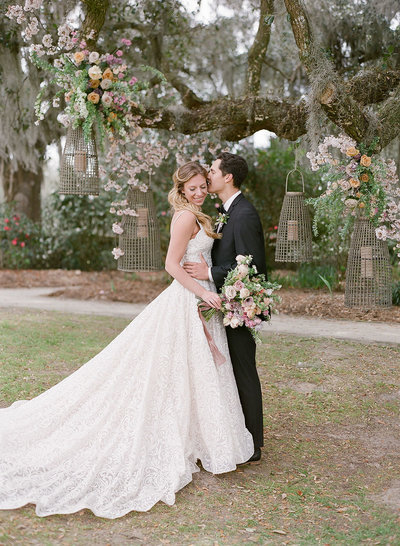 Couple getting married outdoors at Middleton Place Charleston