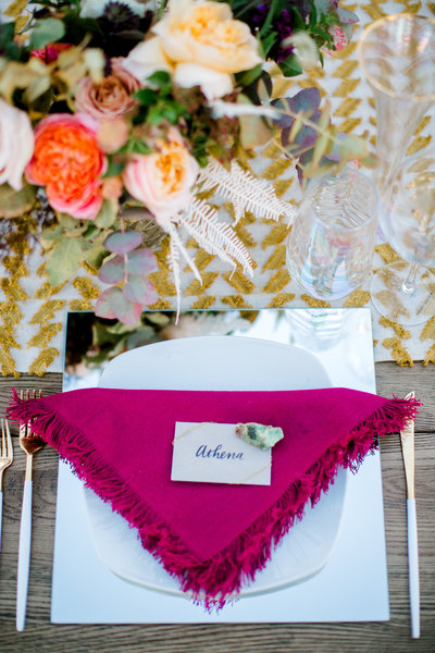 boho wedding reception table deor at slo brew rock in san louis obispo california